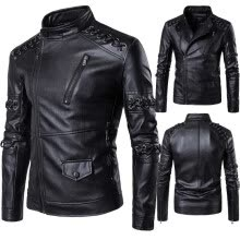 leather-faux-leather-Men's High Quality PU Leather Jacket Winter Warm Thickened Leather Coat Personality Design Plus Size Outerwear on JD