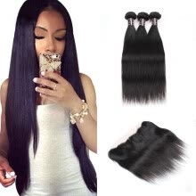 -Ishow Malaysian Straight Hair With Frontal Closure Ear To Ear Lace Frontal With Bundles 7A Malaysian Virgin Hair With Closure on JD