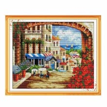 -14 Types Home Decoration DIY Handmade Needlework Cross Stitch Set Embroidery Kit Precise Printed Garden Cottage Design Cross-Stitc on JD