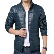 -Zogaa New Winter Men's Cotton-padded Jacket Thick Leather Splice on JD