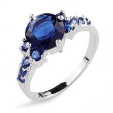 -Aiyaya White Gold Filled Vintage Jewelry Blue Sapphire Ring Cubic Zircon Female Ring Wedding Band on JD