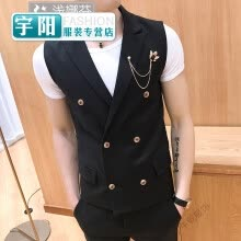 875061886-Vest men's slim color double-breasted design hot suit pony nightclub barber bar single vest on JD