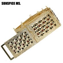 -SUNSPICE MS Wedding Belt Jewelries Metal Waist Belt Crystal Gold Color Crystal Adjustable Length Square Button Waistband Gifts on JD