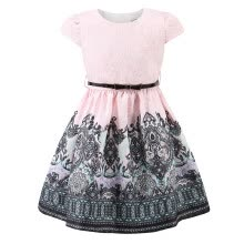 -Little Girls Tween Pink Party Semi Dresses for Kids Tribal Flower Ethnic Print A-line Jacquard Fancy Birthday Gift Pretty Clothes on JD