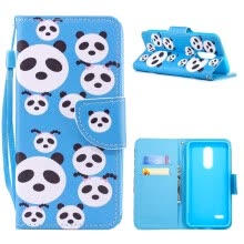 -MOONCASE LG K10 (2017) Painted Leather Case with Small Hand Strap - Panda Puzzle on JD