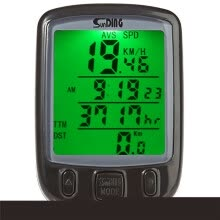 -SunDing SD - 563B Leisure Bicycle Computer Water Resistant Cycling Odometer Speedometer with Green Backlight on JD