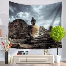 8750202-60 * 50 inches Buddha Printed Tapestry Soft Polyester Wall Hanging Art Tapestry Home Living Room Bedroom Decor on JD