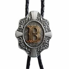 -Men Bolo Tie Original Initial Letter Western Cowboy Cowgirl Wedding Bolo Tie Leather Necklace on JD