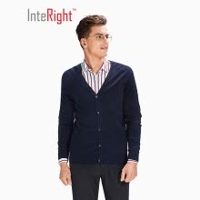 -INTERIGHT Men's V-neck Long Sleeve Sweater Knit Cardigan Light Gray L on JD