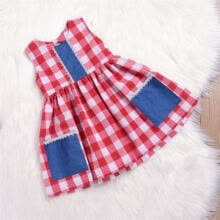 -1-6T Toddler Kids Baby Girl Cotton Dresses Plaid & Checked Pocket Vintage Dress on JD
