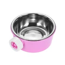 pet-feeding-Pet Dog Cat Hamster Cage Hanging Bowl Non-slip Feeder Water Food Feeder Bowl Stainless Steel And Plastic Dish on JD