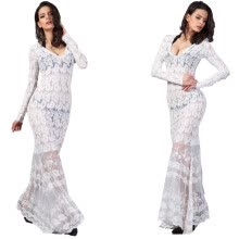 -Buenos Ninos Long Sleeve Lace Sexy Long Dress Flowers Hollow Out on JD