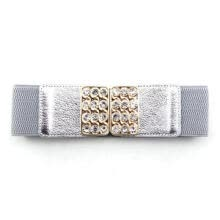 belts-Hot Women Wide Waist Belt Vintage Diamante Elastic Stretch Buckle Waistband on JD
