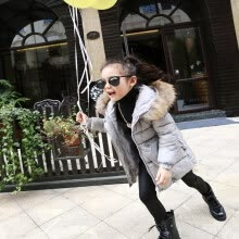 -2018 Thick Warm Fur Hooded Girls Winter Coat Zipper Solid Slim Child Winter Jacket For Girls Baby Kids Cotton Parka Down on JD