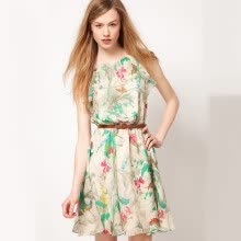 -New Summer Women Chiffon Dress Floral Print Sleeveless Mini Tank Dress White on JD