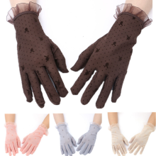 875062531-Summer lace slim, short sunscreen sports gloves, female all refers to anti UV outdoor driving gloves. on JD