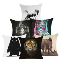 -Animal collection Gorilla tiger elephant big black bear Cushion Cover Invisible Zipper Pillow Cover Polyester Square Pillow Case on JD