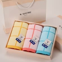 8750203-【Jingdong Supermarket】 Gold cotton towel GA1136 red, yellow and blue color mix 3 soft soil absorbent towel gift box 70 * 33cm gift bag on JD