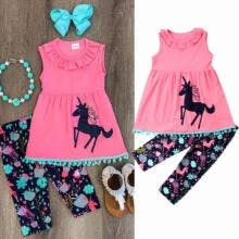 -Unicorn Kids Girl Children Outfit Clothes Casual Tops Dress + Leggings Pants Set on JD