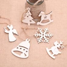 pendants-10Pcs Christmas Wood Chip Tree Ornaments Xmas Hanging Pendant Decoration Gifts on JD