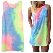 tanks-camis-Mymei  Women's Summer Sleeveless Shiny Tie-dye Round Neck Rainbow Long Top Mini Dress on JD