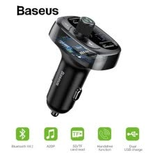 -Baseus Car Charger FM Transmitter Aux Modulator Bluetooth Handsfree Car Audio MP3 Player 3.4A Fast Dual USB Mobile Phone Charger on JD