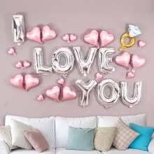 -Palace Kaoru Tanabata Romantic Proposal Marriage Wedding Wedding New Marriage Room Valentine's Day Decoration Decorations Creative Letters Aluminum Film White Balloons Package Pink Romantic Diamond Ring Package on JD