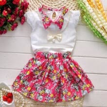 -Cute Cotton Baby Kids Girls Summer Clothes Fashion Floral Dresses fit 2-7Years on JD