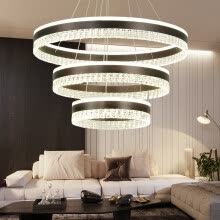ceiling-lights-Baycheer HL487581 Personality 3 Rings Brushed Aluminum Circular LED Chandelier in Brown Warm Light on JD