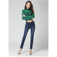 bottoms-Autumn/winter 2018 south Korean version of ins jeans: slimming and thickening with fleece for women and slimming for women on JD