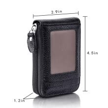 -Men's Wallet Genuine Leather Credit Card Holder RFID Blocking Zipper Thin Pocket on JD