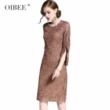 celebrity-inspired-dresses-OIBEE2018 autumn new fashion embroidered hollow seven-point sleeve dress slim slim bag hip skirt female on JD