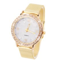 women-watches-Women's Crystal Round Quartz Stainless Steel Mesh Band Wrist Watch Gift on JD