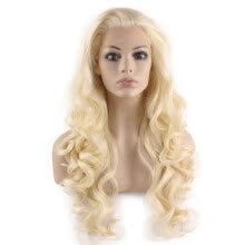 -Iwona Synthetic Hair Lace Front Long Wavy Light Blonde Wig on JD