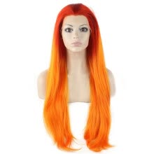 -Iwona Synthetic Hair Lace Front Long Straight Ombre Wig on JD