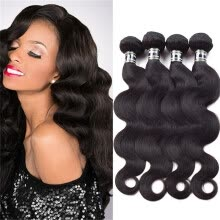 -Amazing Star Brazilian Virgin Hair Body Wave 4 Bundles Good Quality Human Hair Extensions Body Wave Hair Bundles Soft and Bouncy on JD