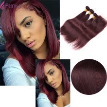 -Peruvian Virgin Hair With Closure 3 Bundles Straight Red Wine Burgundy 99J Straight Human Hair Weave With Closure Hair Website on JD