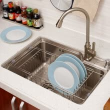 -ORZ Kitchen Fruits Vegetables Draining Rack Stainless Steel Adjustable In-Sink Dish Bowl Drainer Drying Basket Storage Tray on JD