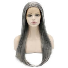 -Iwona Synthetic Hair Lace Front Long Stright Old Lady Gray Wig on JD