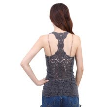-Summer New Fashion Womens Tank top Sexy lace tops Crochet Back Hollow-out woman Vest Camisole lace Vest on JD