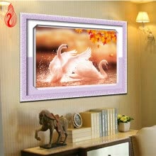 arts-crafts-YGS-13 DIY 5D Round Diamond Painting Cross Stitch Kits Autumn Lover Swans Animals Diamonds Embroidery Home Decor Diamond Mosaic on JD