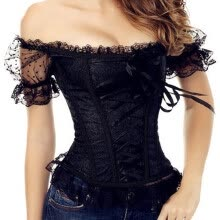 875061832-New Bowknots Sweetheart Lace up Girl Corset shoulder strap Boned Basque Bustier Top with Sleeve steampunk on JD