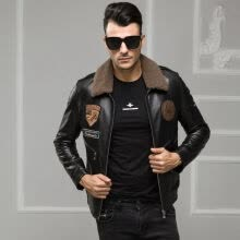 -Men's leather jacket long sleeve autumn witer genuine sheepskin coat real leather the newest loose style with warm padding on JD