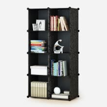 home-office-furniture-Kou Si simple bookcase free combination locker plastic bookshelf shelves simple modern adult single bookcase no door 8 grid big black flower bookcase on JD