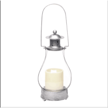 candles-holders-Battery Operated Metal and Glass House Lantern with 3x4 inches Led Plastic Candle, 15.35 inch, Antique silver on JD