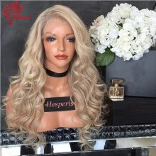 -Hesperis 10A Virgin Top Quality Brazilian Blonde 613 180 Density Body Wave Full Lace Human Hair Wigs on JD