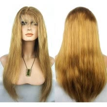 -N.L.W. European virgin human hair Lace front wigs  #27 Dark blonde color Silk straight wigs with baby hair on JD