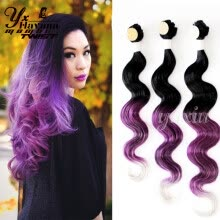 -Ombre Synthetic Brazilian Natural Wave Hair Weft Clip In Body Wave 1 Bundle Closure 14' 16' 18' Rainbow Hair Weaving Hairstyle on JD