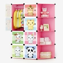 8750213-Kouzi simple wardrobe cartoon wardrobe single wardrobe reinforcement combination cabinet student dormitory assembly plastic storage cabinet Meng pet 8 door 6 grid 1 hanging corner on JD
