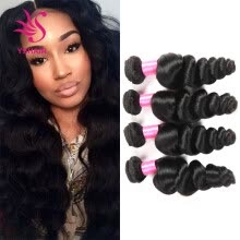-Indian Loose Wave 4 Bundles100% Indian Human Hair Weaving Loose Wave Unprocessed Grade 7A Indian Remy Hair Extensions on JD